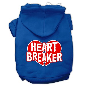 Heart Breaker Screen Print Pet Hoodies Blue Size XS (8)